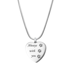 B100258 Paw Always with You Heart Memorial Necklace 1