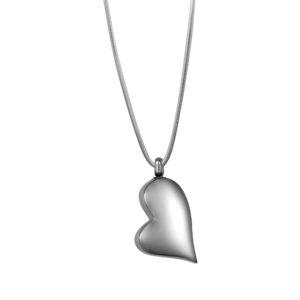 B100882 Plain Silver Heart Memorial Necklace 1