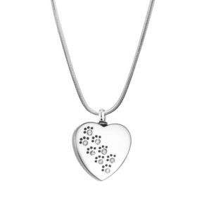 B100883 Crystal Dog Paw Print on Heart Memorial Necklace 1