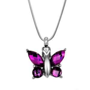 B101046 Purple Crystal Butterfly Memorial Necklace 1