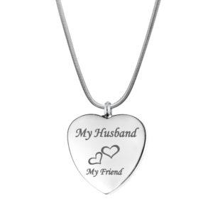 B101823 Husband My Friend Love Heart Memorial Necklace 1