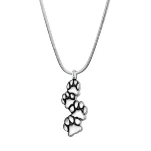 B103312 Cute Dog Paws Track Memorial Necklace 1