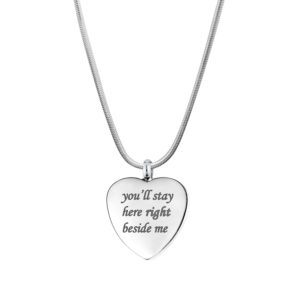 B104095 Stay Here Right Beside Me Memorial Necklace 1