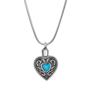B104150 Turquoise Heart Memorial NecklaceAsh Holder 1