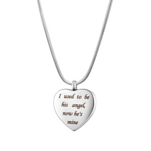 B106869 Now He is My Angel Heart Memorial Necklace 1