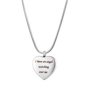 B106873 Angel Watching Over Me Heart Memorial Necklace 1