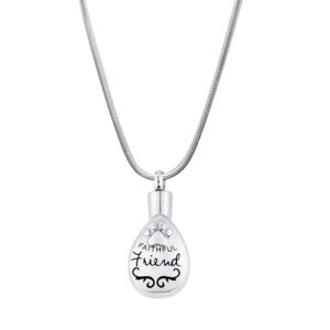 B119517 Tear Drop Faithful Friend Trim Memorial Paw Necklace 1