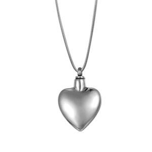 B86284 Steel Heart Polished Memorial Jewelry 1