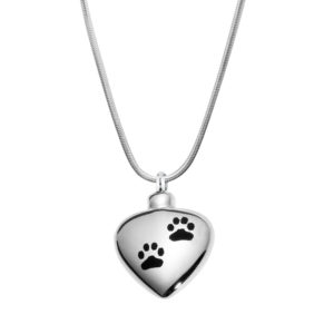 B87482 Dog Paw Heart Memorial Necklace 1