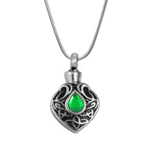 B89326 Turquoise Celtic Heart Memorial Necklace 1