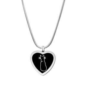 B90541 Cat Inlay Heart Memorial Necklace 1