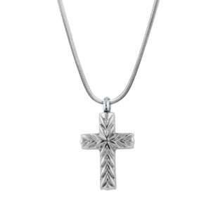 B91304 Etched Cross Memorial Necklace 1