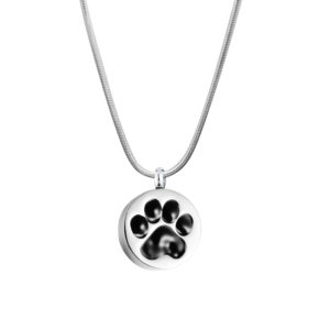 B93622 Round Paw Print Pet Memorial Necklace 1