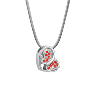 B93638 Loving Butterfly Red Crystal Memorial Necklace 1