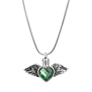 B93652 Emerald Heart & Wings Memorial Necklace 1