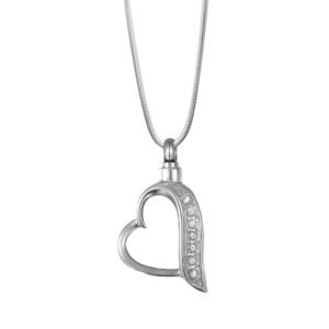 B95887 Encrusted Clear Crystal Heart Memorial Necklace 1