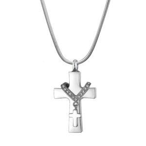 B96470 Premium Collet Cross Memorial Necklace 1