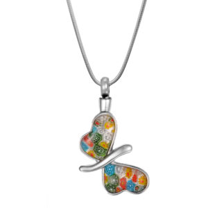 B97649 Flower Patch Butterfly Memorial Necklace 1