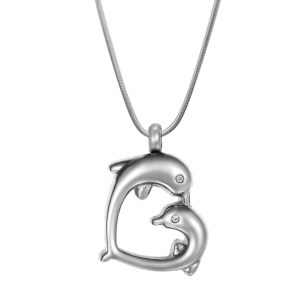 B97650 Loving Dolphins Heart Memorial Necklace 1