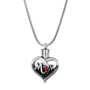 B97958 Premium Ruby Mom Heart Memorial Necklace 1