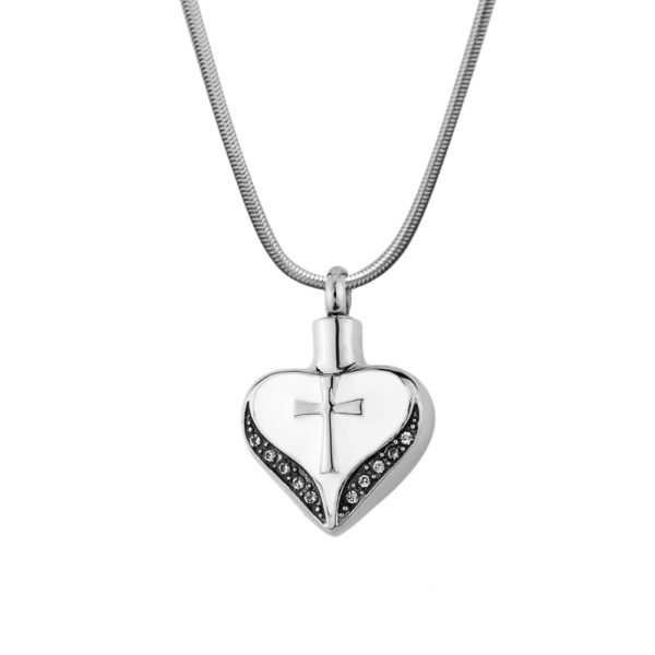 Cross on Heart Memorial Necklace