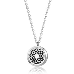 B102416 Silver Flower Essential Oil Necklace 1