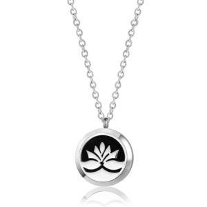 B102418 Silver Lotus Flower Essential Oil Necklace 1