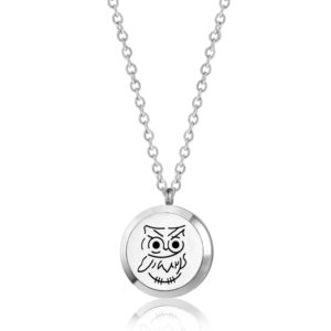 B104072 Baby Owl Round Essential Oil Necklace 1