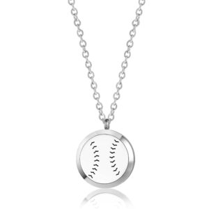 B104699 Baseball Round Essential Oil Necklace 1
