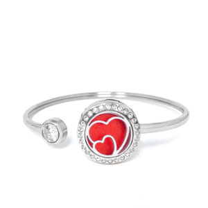 P001869 Double Heart Rainstones Essential Oil Bangle 1