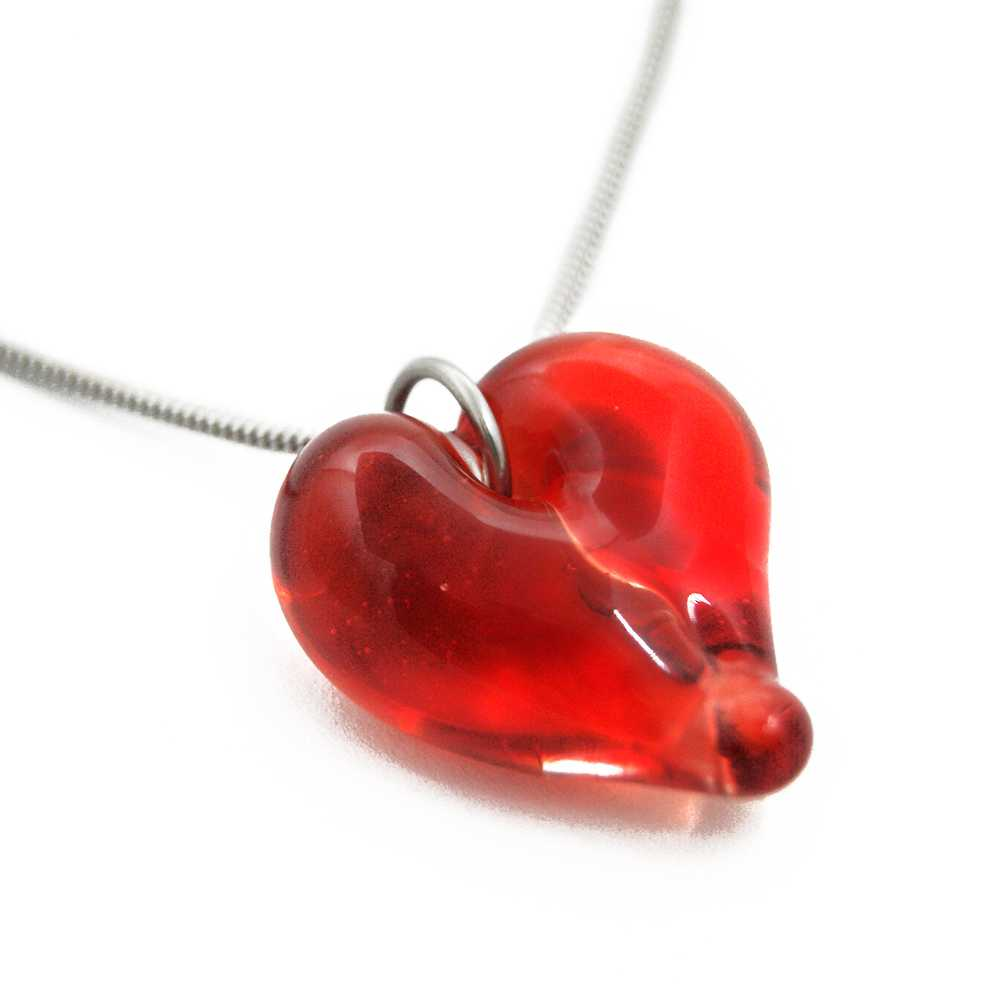 B159172 Passion Ruby  Heart Shaped Hand Blown Cremation Ash Necklace 3