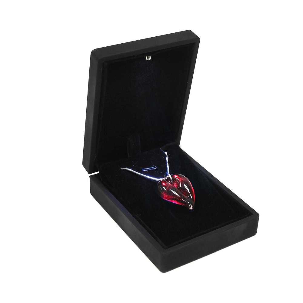 B159172 Passion Ruby  Heart Shaped Hand Blown Cremation Ash Necklace 2