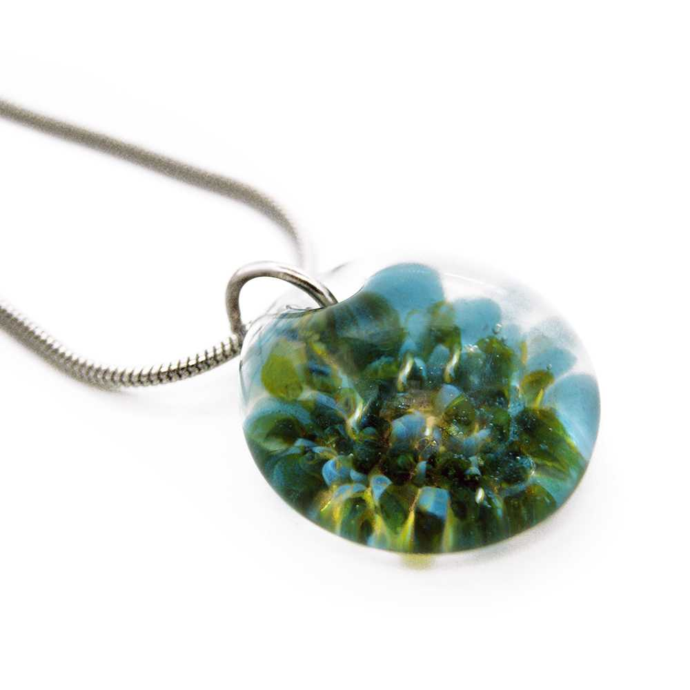B159179 Evergreen Textured Drop Hand Blown Cremation Ash Necklace 3